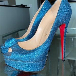 Christian Louboutin Lady Peep Blue Glitter pump